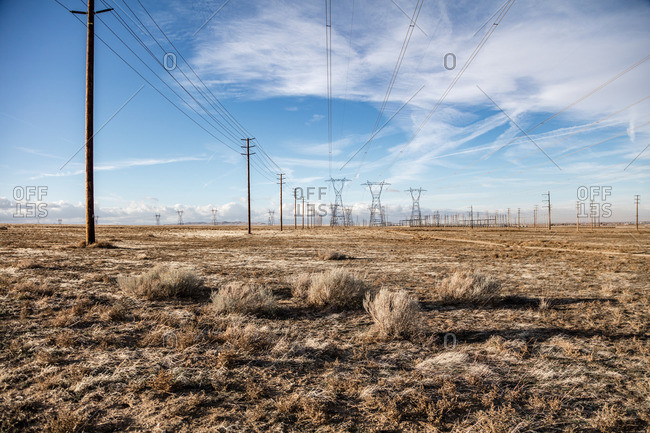 Power lines spread out over the Mojave Desert outside Lancaster, California