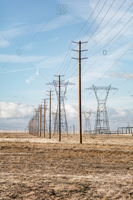 Power lines spread out over the Mojave Desert near Lancaster, California