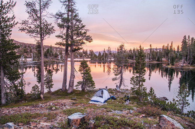 A campsite by a lake in Desolation Wilderness at sunset near Tahoe, California