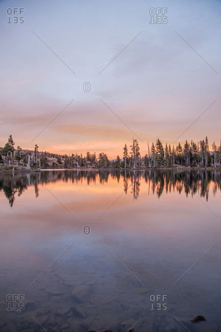 A lake in Desolation Wilderness at sunset near Tahoe, California
