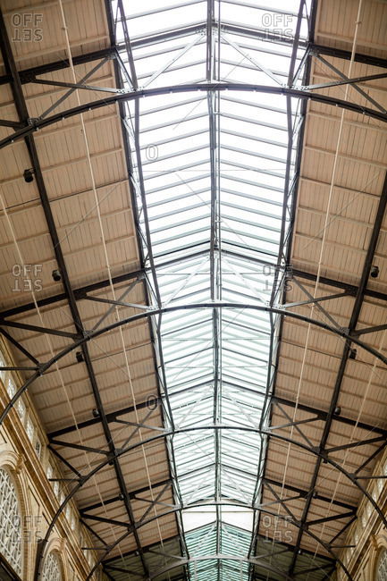 Low angle view of skylights in a building