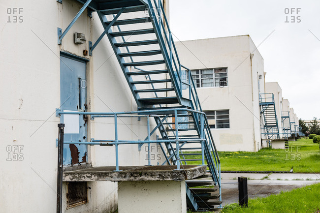 Metal staircases for unused buildings on a decommissioned military base