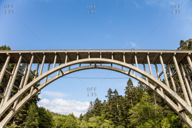 The bridge spanning the beach at Russian Gulch State Park near Mendocino, California