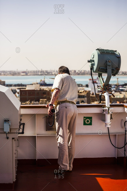 Captain on a ship in the southern end of the Suez Canal, Egypt