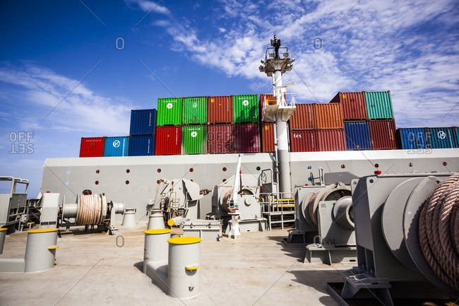 Red Sea - April 9, 2014: Front end of a container ship, looking from the bow towards the stern