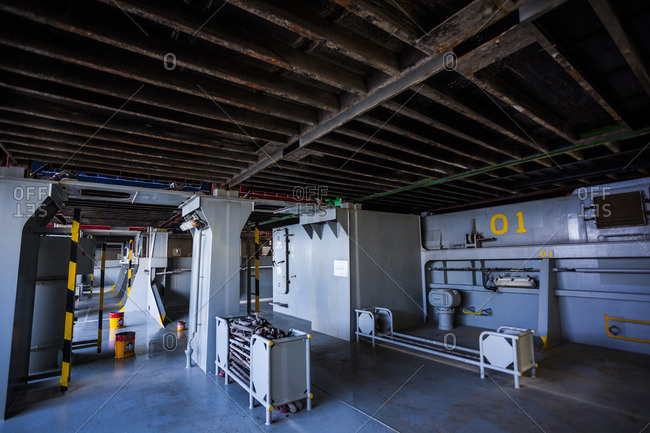 April 9, 2014: Underneath containers on a container ship