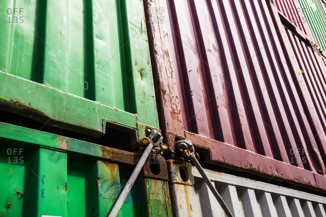 Detail of a container on board a container ship