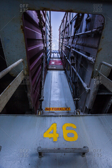 April 9, 2014: Looking up at containers on a container ship in the red sea