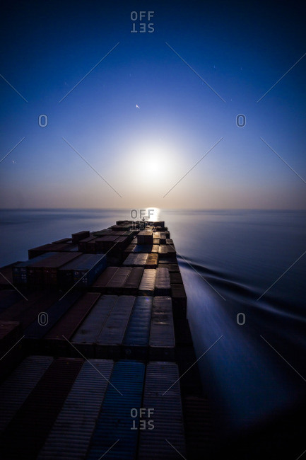 Container ship in the Indian Ocean, south of Sri Lanka, nighttime