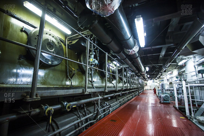 Engine room onboard a container ship, pistons, two-stroke engine, power