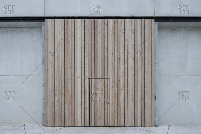 Detail of hidden door in minimalist designed building in Temse, Belgium