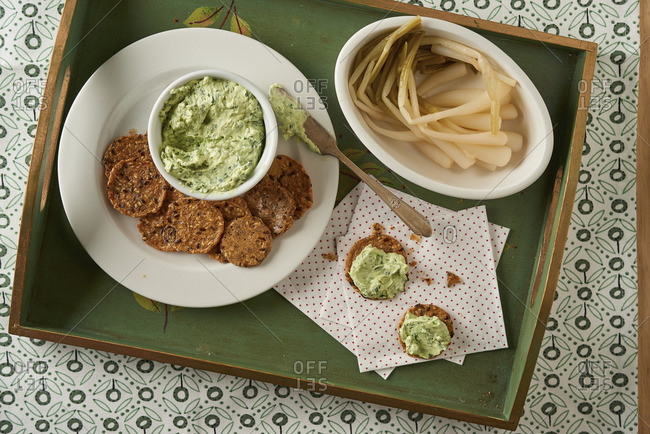 Ramp spread and crackers with bowl of ramps