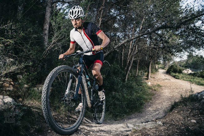 Mountain biker on the move