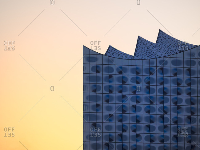 Hamburg, Germany - May 7, 2016: Partial view of Elbphilharmonie at sunset