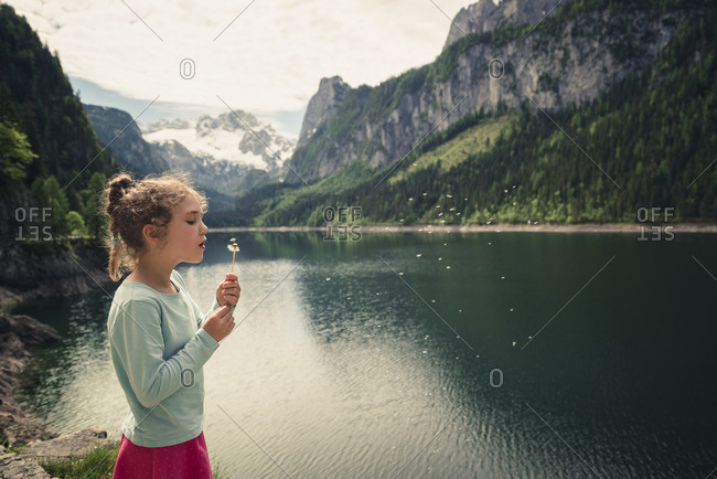Girl with blowball at Gosausee