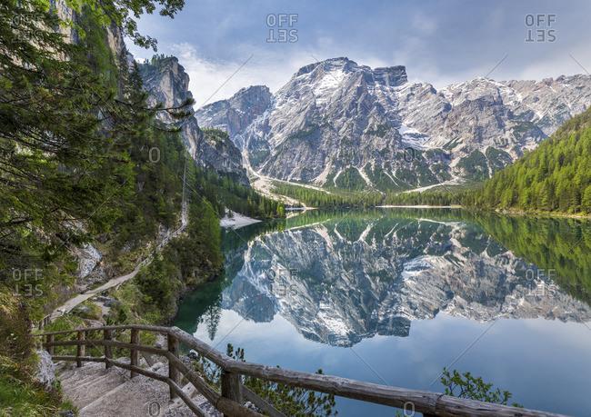 Seekofel reflecting in Lake Prags