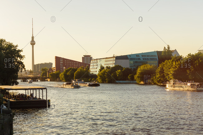 Modern buildings at Spree riverside and television tower in the background