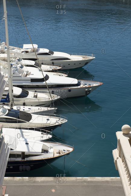 Monte Carlo, Monaco - April 12, 2016: Row of boats in marina
