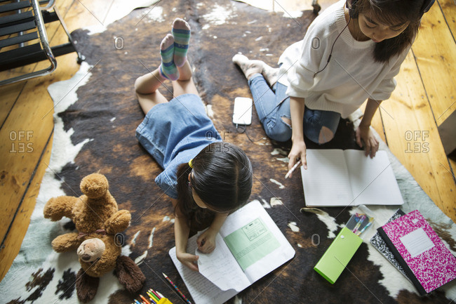 High angle view of siblings studying on carpet
