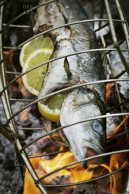 Fish in a fish grill basket over a grill