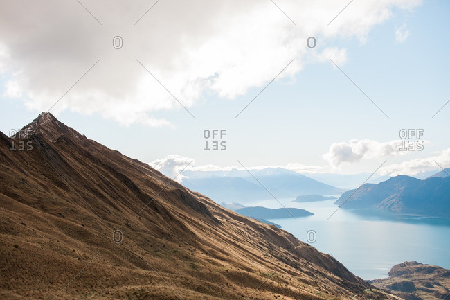 Mountains surrounding a large body of water