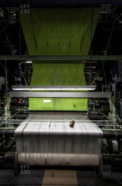 Lyon, France - February 19, 2016: Silk weaving machine, Lyon, France