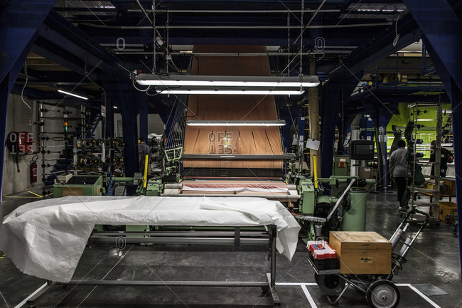 Lyon, France - February 19, 2016: Interior of textile weaving plant