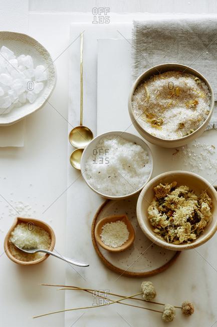 Still life with bath salts and bath tea