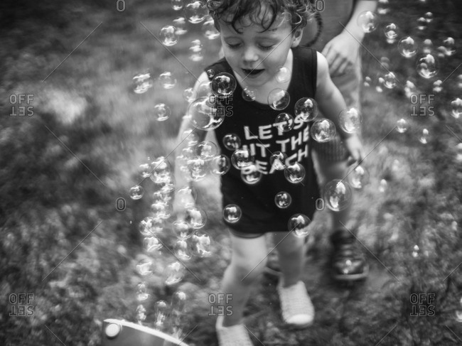 Boy by a bubble shooter