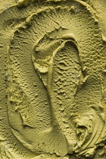 Close up of pistachio ice cream