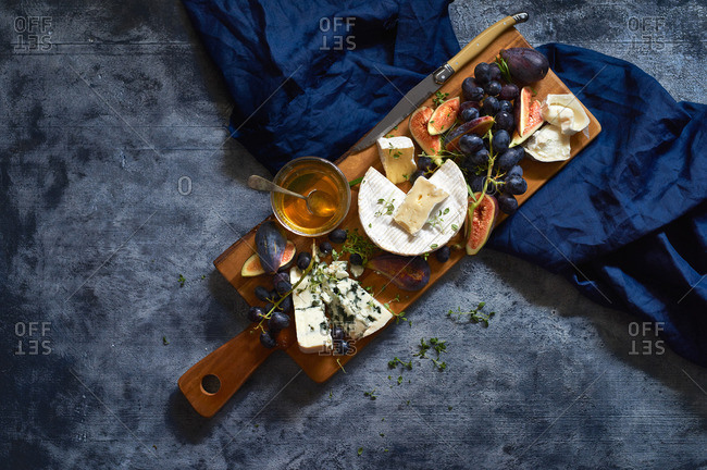 Figs and cheese on board
