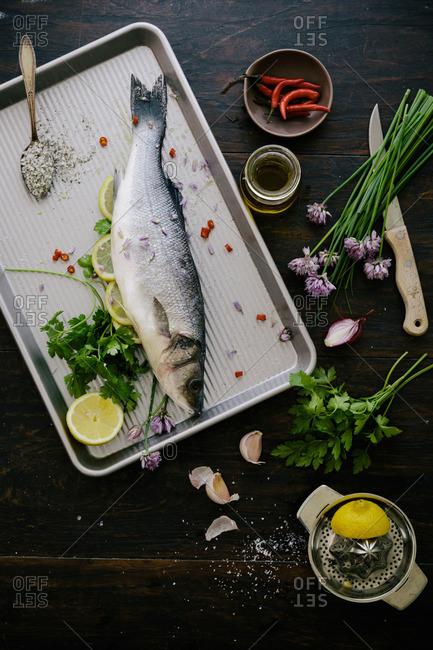 European sea bass and seasoning