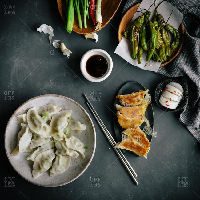 Asian dumplings and sauce