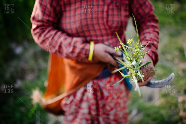 Close-up of a woman working outside in a field