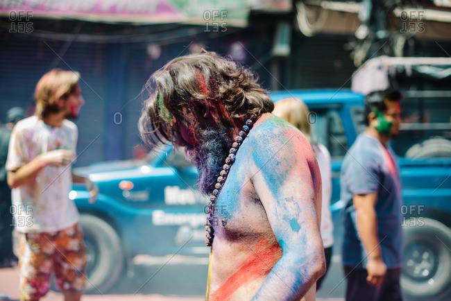 Nepal - March 22, 2016: Man at a Holi Festival