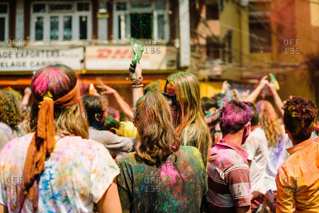 Nepal - March 22, 2016: People at a Holi Festival