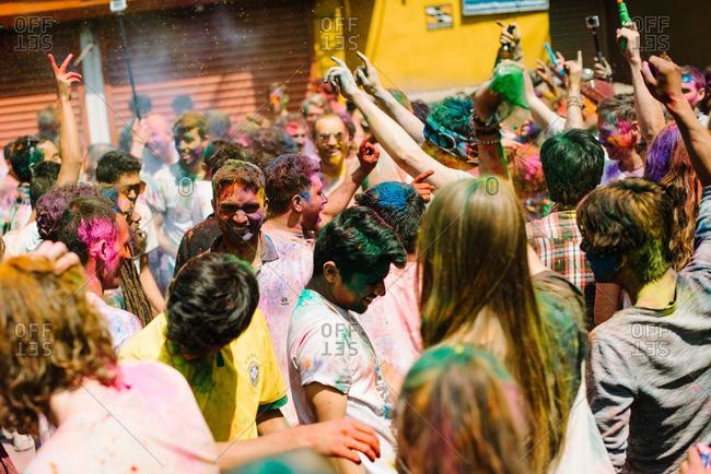 Nepal - March 22, 2016: People celebrating at a Holi Festival