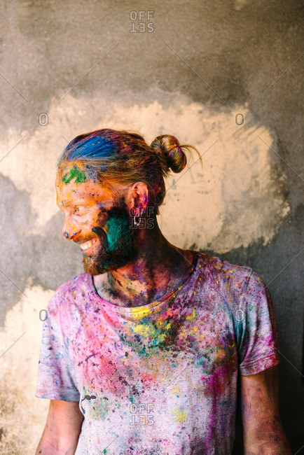 Nepal - March 22, 2016: Portrait of a man at a Holi Festival
