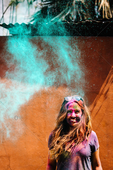 Nepal - March 22, 2016: Portrait of a woman at a Holi Festival