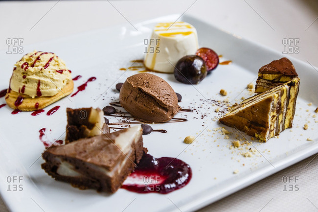 Vareity of desserts on a plate