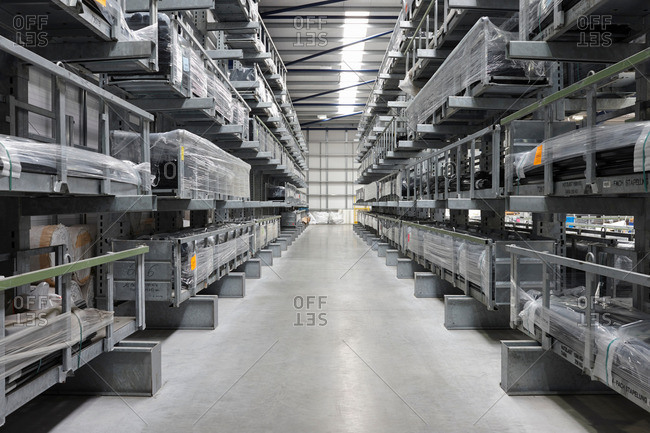 Products aisle in engineering warehouse