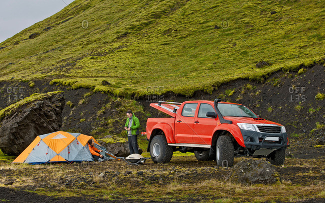 Hungurfit, Iceland - August 27, 2013: Customized SUV at remote camp on the Icelandic highlands