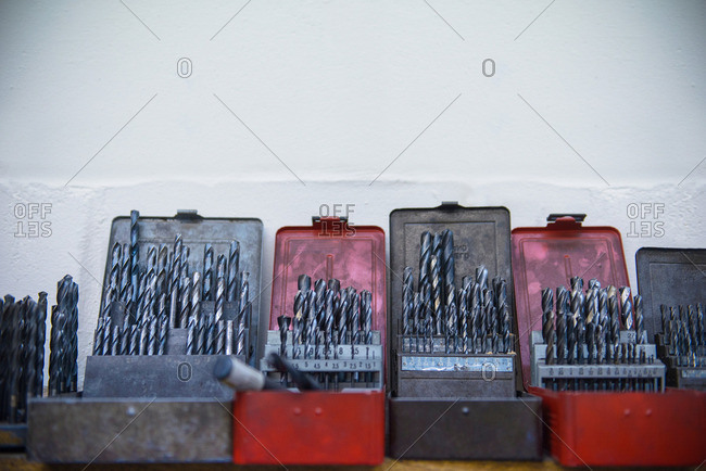 Assorted drill bits in engineering factory