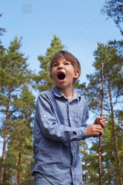 Boy standing in forest, holding stick, mouth open shouting