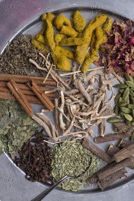 Medicinal Auryvedic herbs on a tray