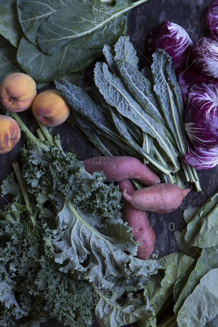 Fresh vegetables and peaches