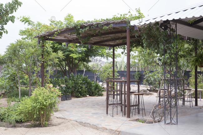 El Pescadero, Mexico - June, 18, 2016: Hierbabuena Restaurant and garden patio