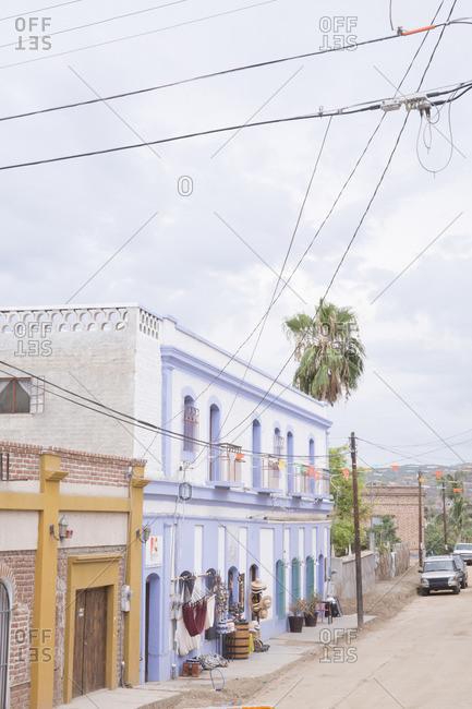 Baja, Mexico - June, 18, 2016: Buildings in Todos Santos, Baja, Mexico