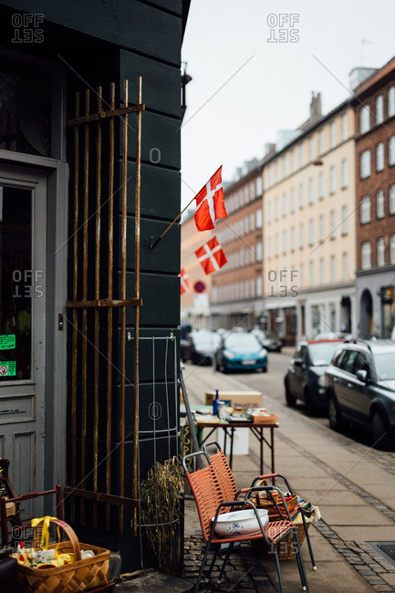3/14/16: Flags of Denmark hanging outside shop