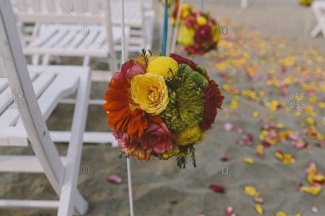 Flowers at a beach wedding